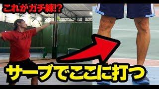 【テニス】神業!股抜きサーブやってみたwww〈ぬいさんぽ〉
